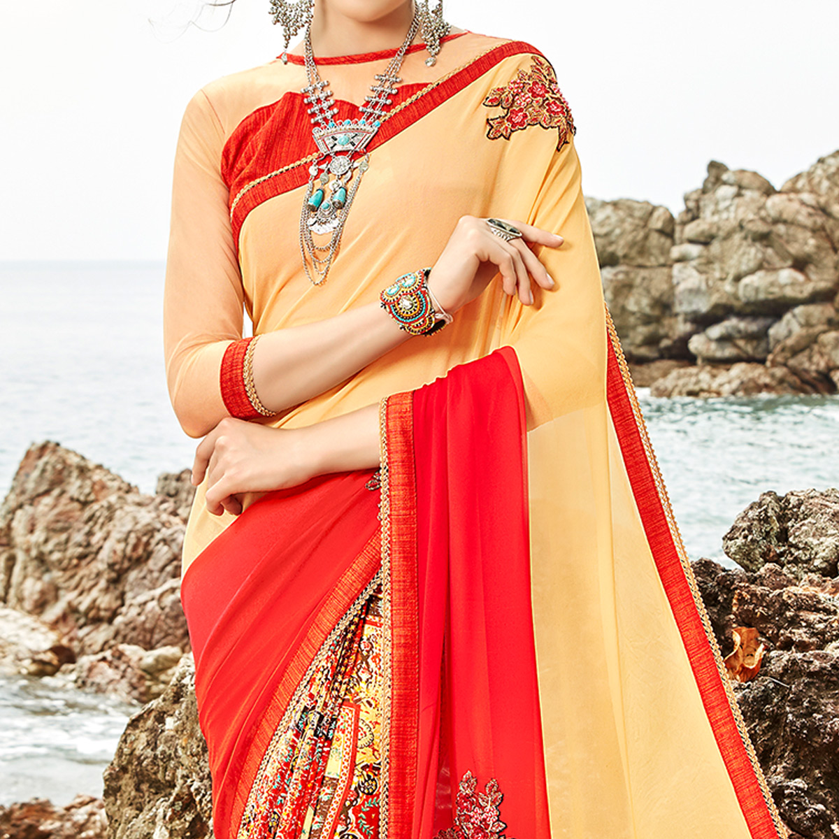 Marvellous Cream-Multi Colored Partywear Printed Georgette Half-Half Saree