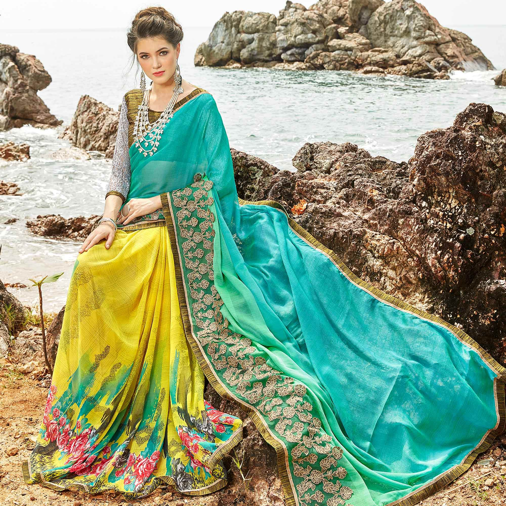 Attractive Yellow-Aqua Blue Colored Partywear Printed Georgette Half-Half Saree
