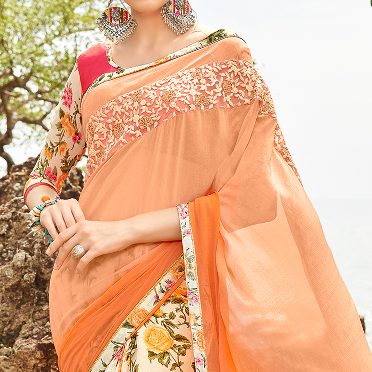 Appealing Cream-Peach Colored Partywear Printed Georgette Half-Half Saree