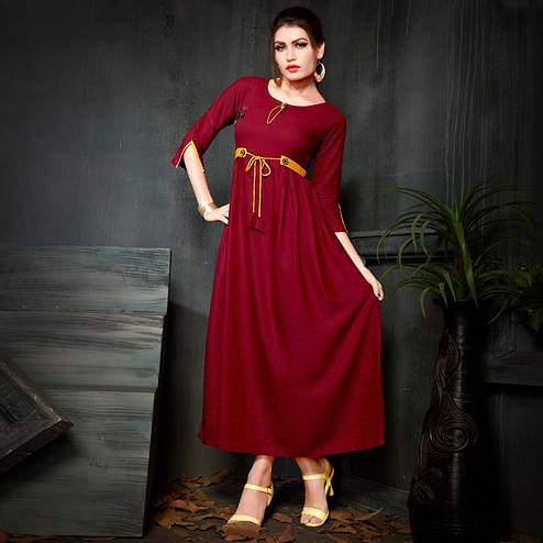 Gorgeous Maroon Colored Party Wear Fancy Rayon Kurti