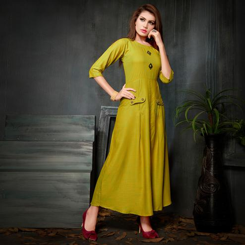 Classy Yellow Green Colored Party Wear Fancy Rayon Kurti