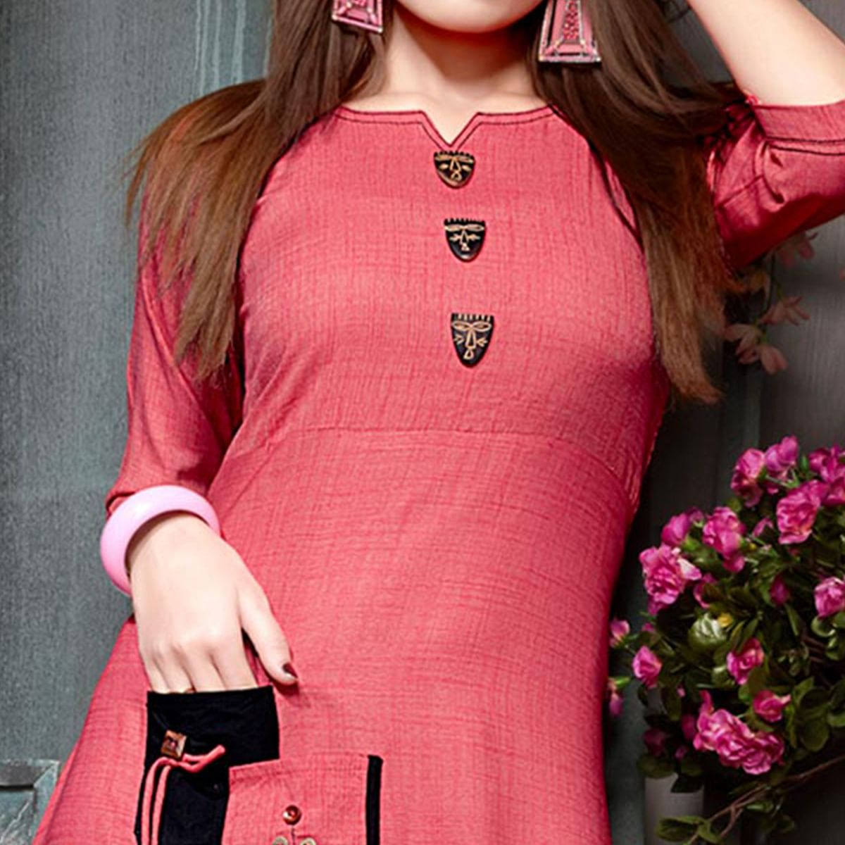 Glorious Pink Colored Party Wear Fancy Rayon Kurti
