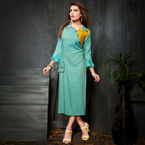 Graceful Sky Blue Colored Party Wear Fancy Rayon Kurti
