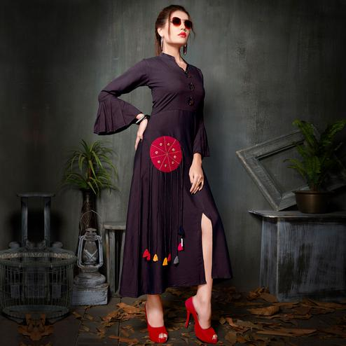 Lovely Dark Purple Colored Party Wear Fancy Rayon Kurti