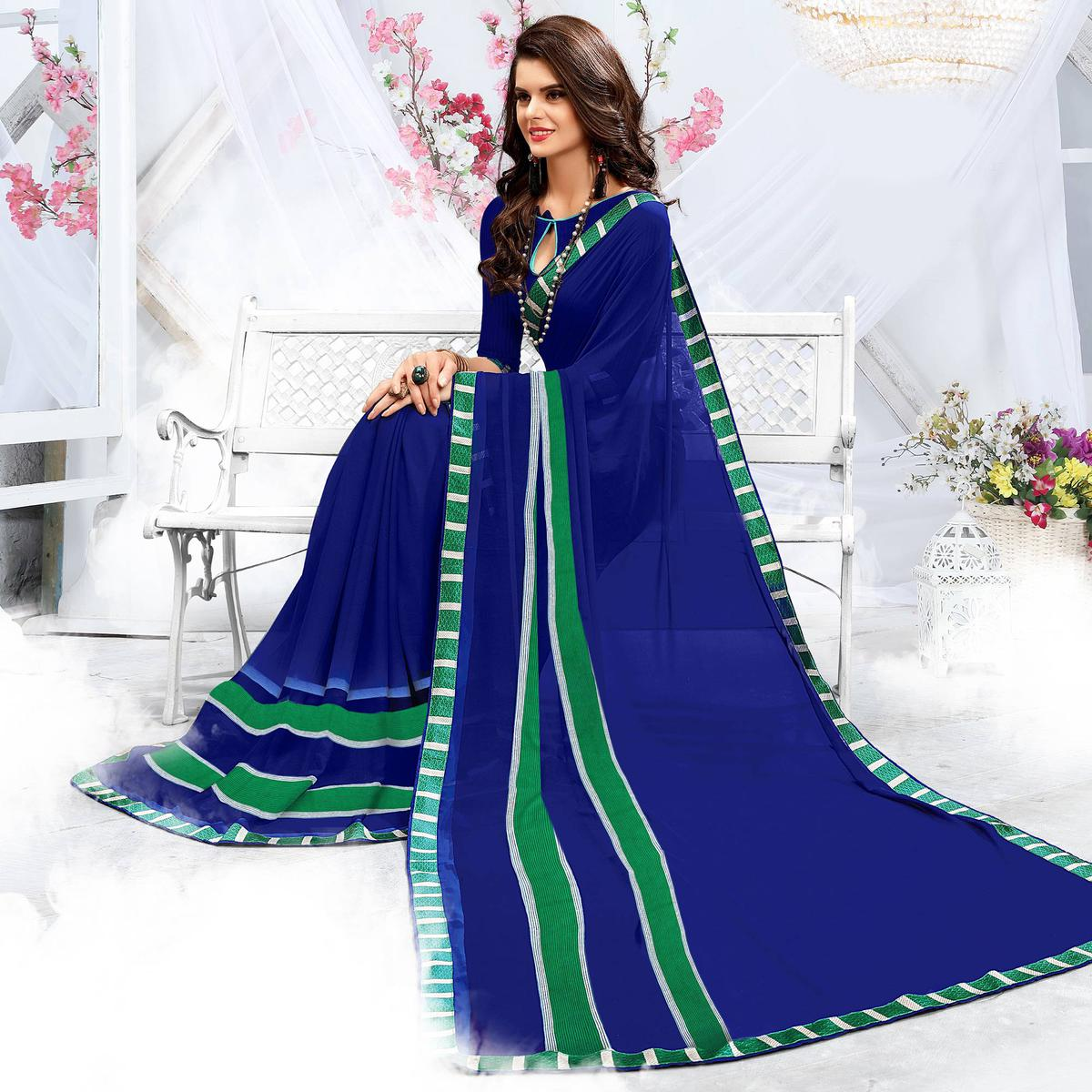Ravising Blue Georgette Printed Saree