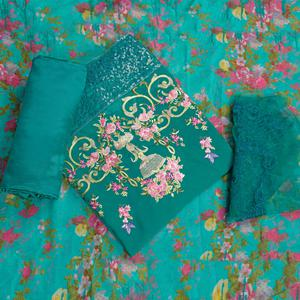 Classy Rama Green Colored Partywear Embroidered Faux Georgette Suit