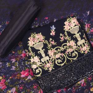 Gorgeous Navy Blue Colored Partywear Embroidered Faux Georgette Suit