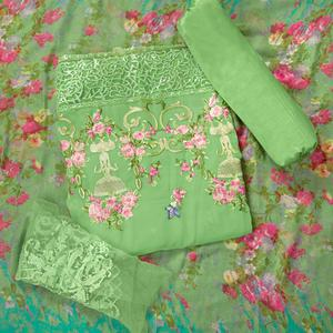 Demanding Light Green Colored Partywear Embroidered Faux Georgette Suit