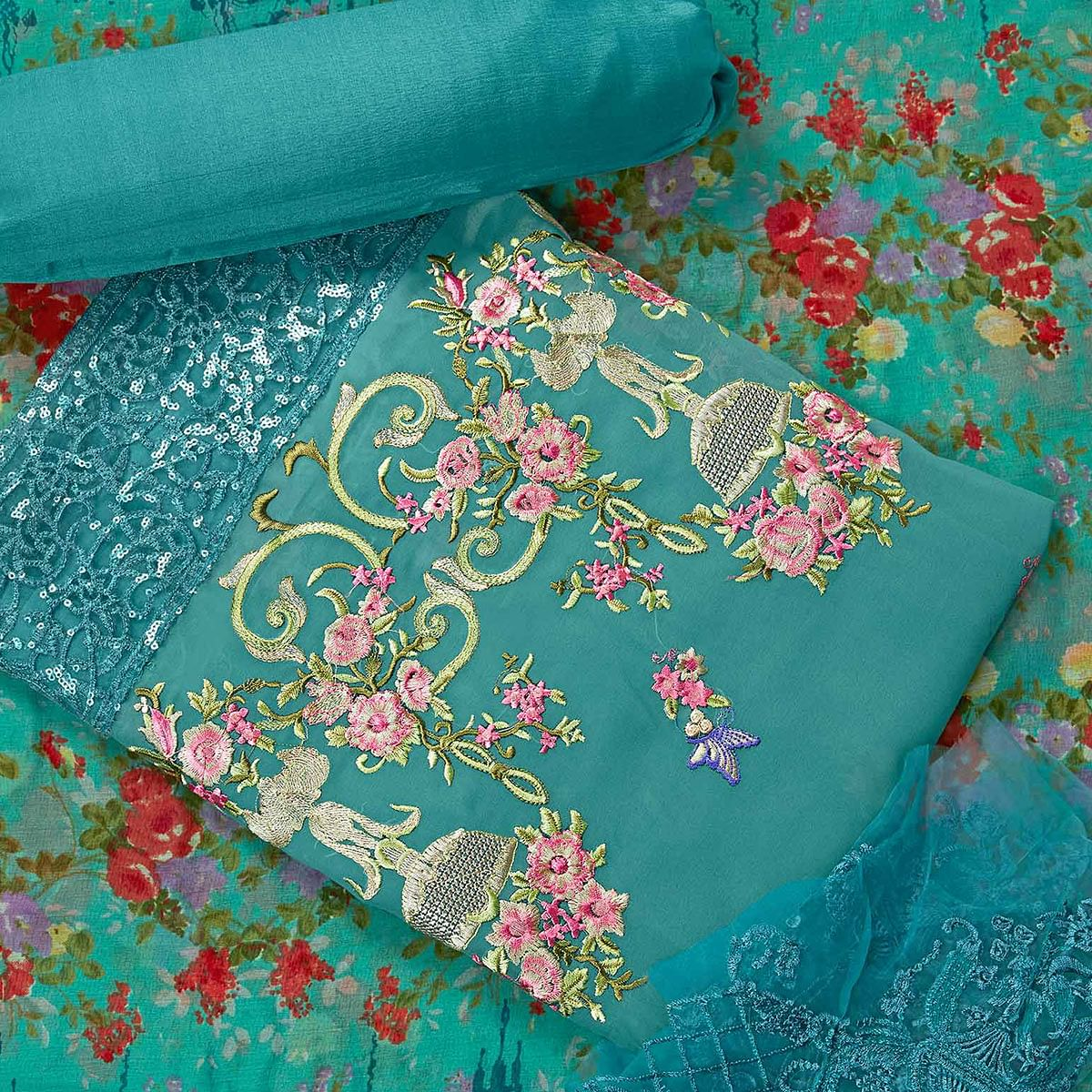 Attractive Turquoise Green Colored Partywear Embroidered Faux Georgette Suit