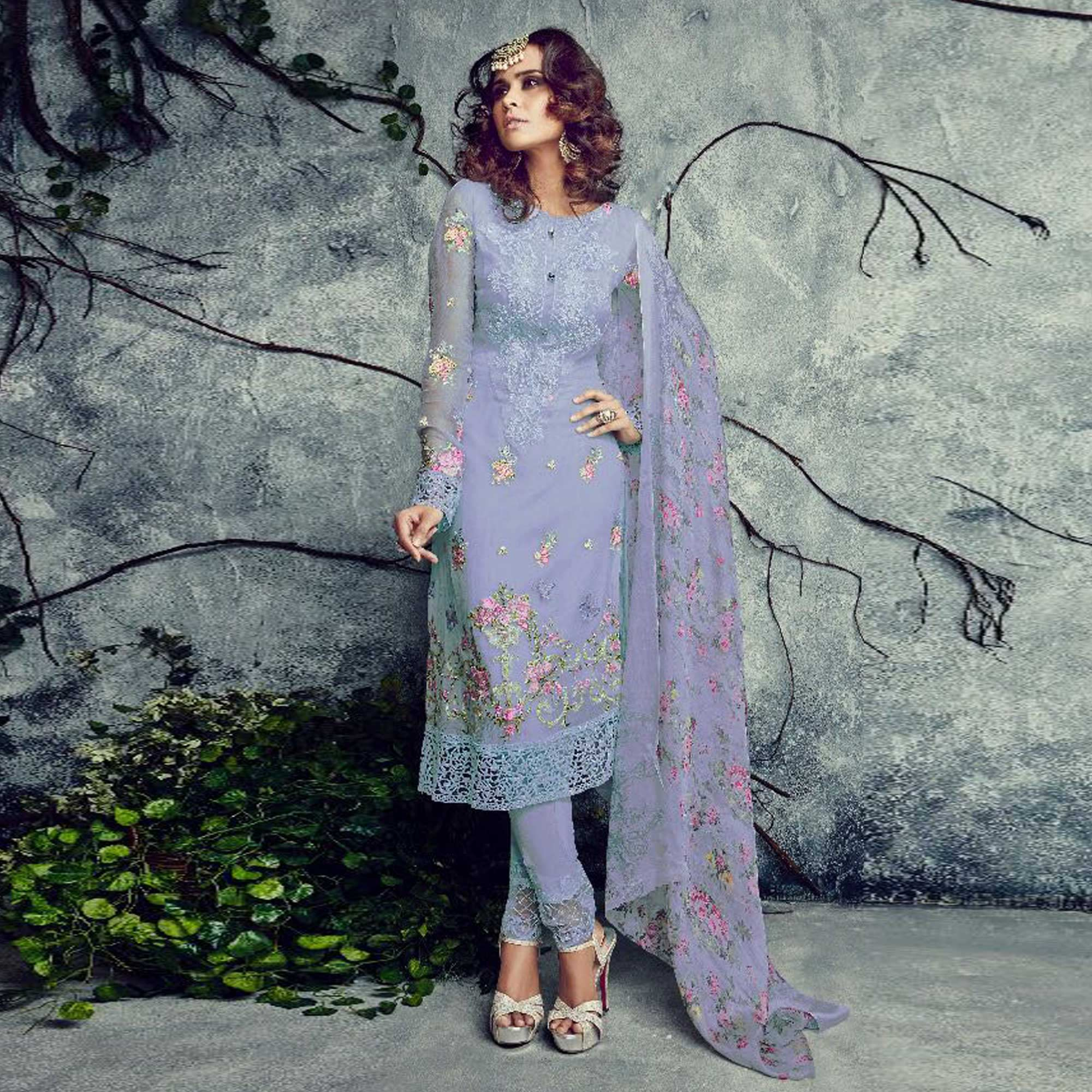 Trendy Gray Colored Partywear Embroidered Faux Georgette Suit