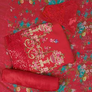 Exceptional Coral Red Colored Partywear Embroidered Faux Georgette Suit