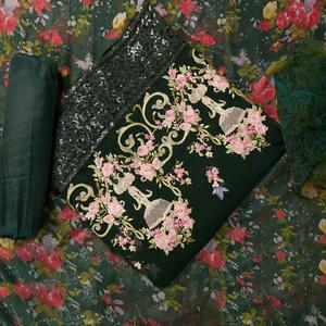 Blooming Mehendi Green Colored Partywear Embroidered Faux Georgette Suit