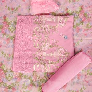 Charming Pink Colored Partywear Embroidered Faux Georgette Suit