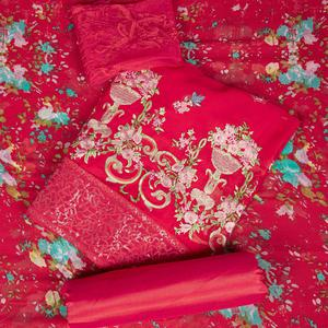Favorite Rani Pink Colored Partywear Embroidered Faux Georgette Suit
