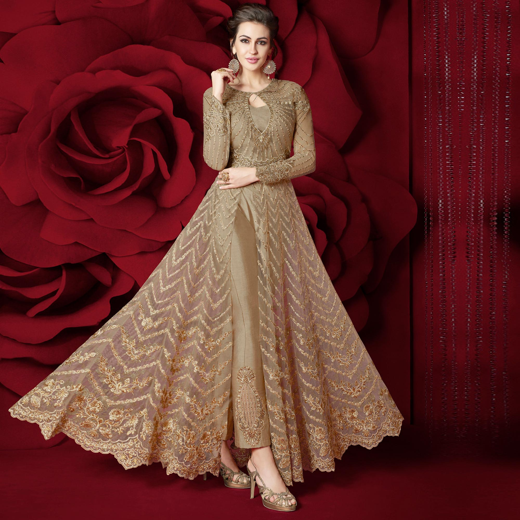 Intricate Light Brown Colored Party Wear Embroidered Net Lehenga Kameez