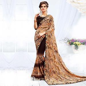 Stunning Beige - Brown Georgette Printed Saree