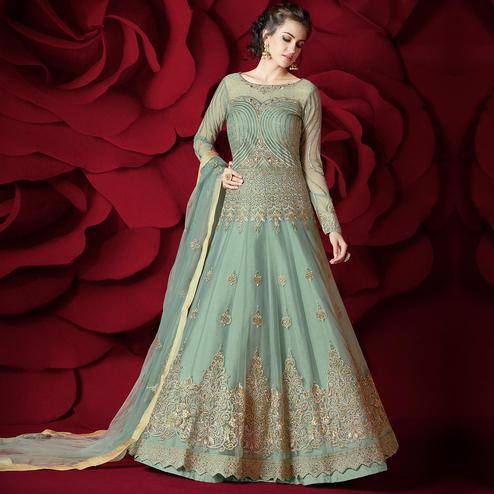 Desirable Light Cyan Colored Party Wear Embroidered Net Lehenga Kameez