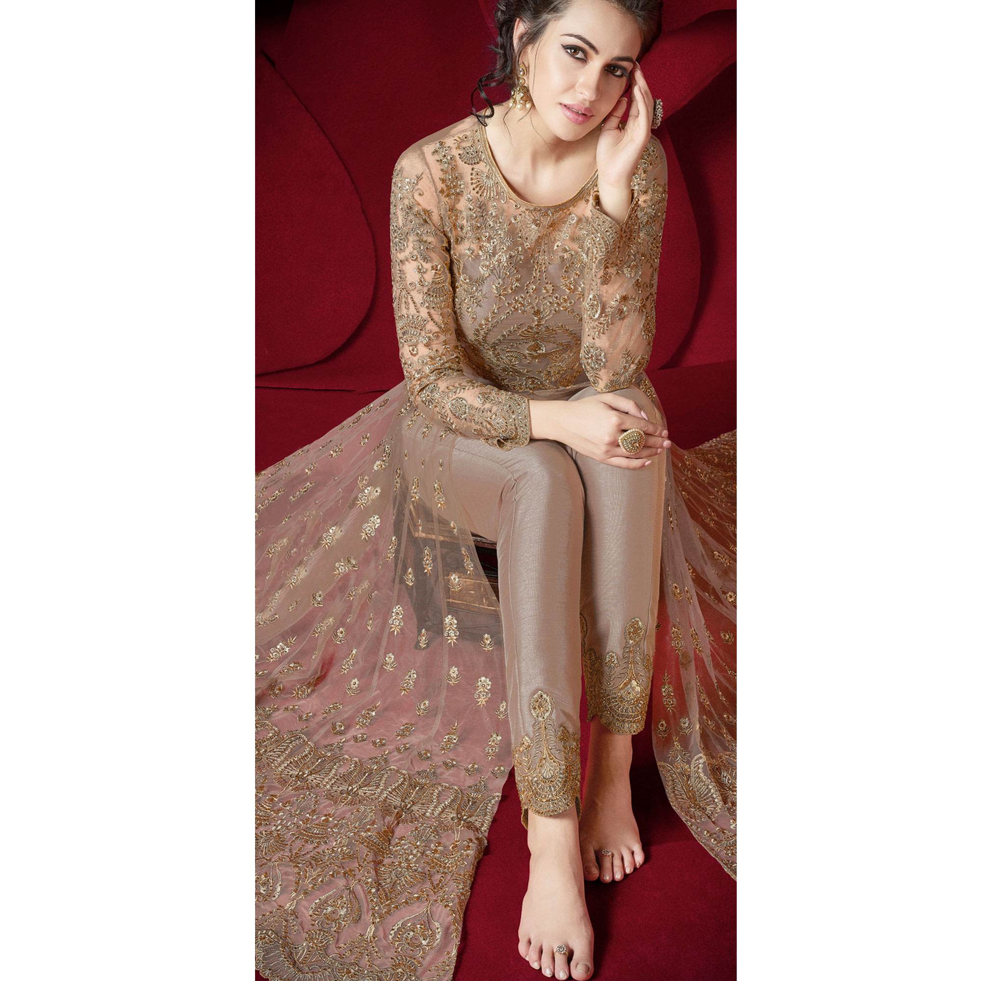 Elegant Beige Colored Party Wear Embroidered Net Lehenga Kameez