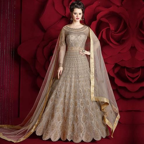 Alluring Grey Colored Party Wear Embroidered Net Lehenga Kameez