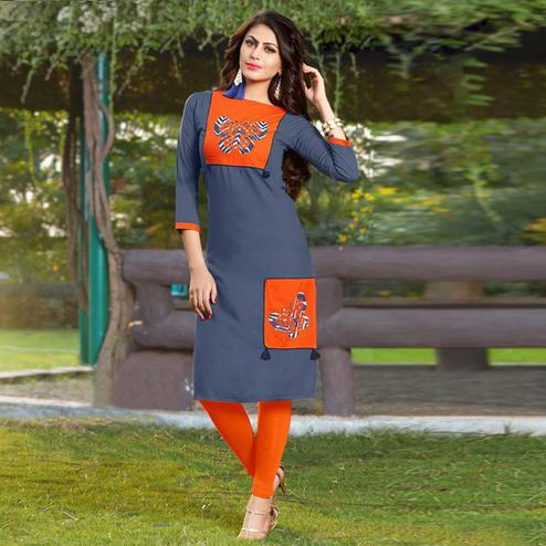 Impressive Gray Colored Casual Printed Heavy Rayon Kurti