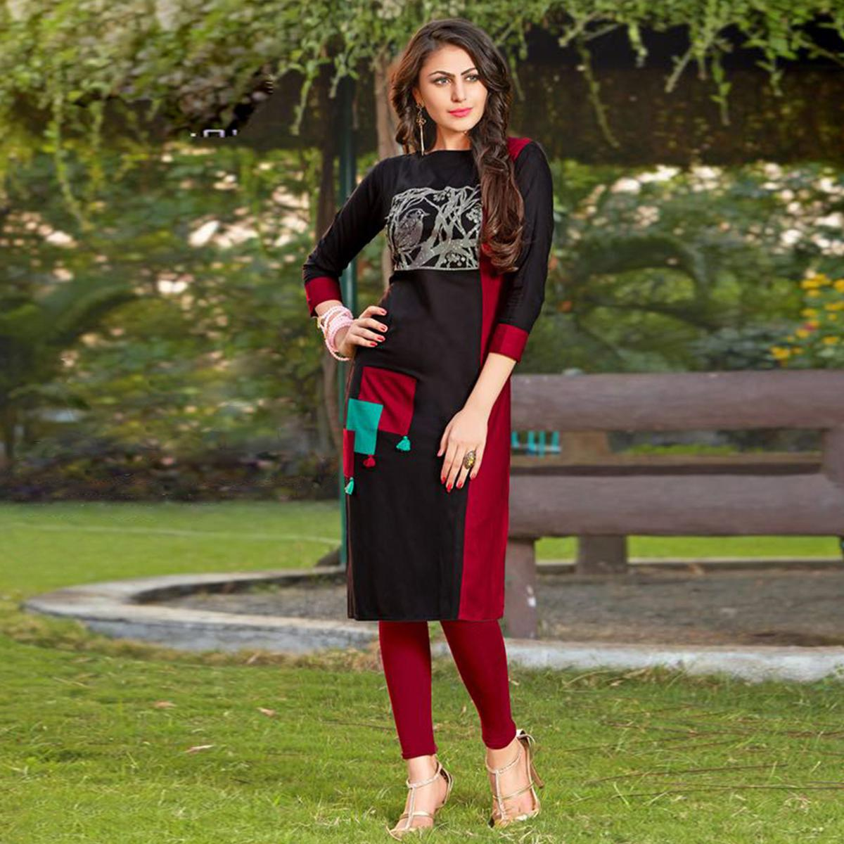 Desiring Black-Maroon Colored Casual Printed Heavy Rayon Kurti