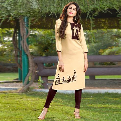 Pleasant Cream-Brown Colored Casual Printed Heavy Rayon Kurti