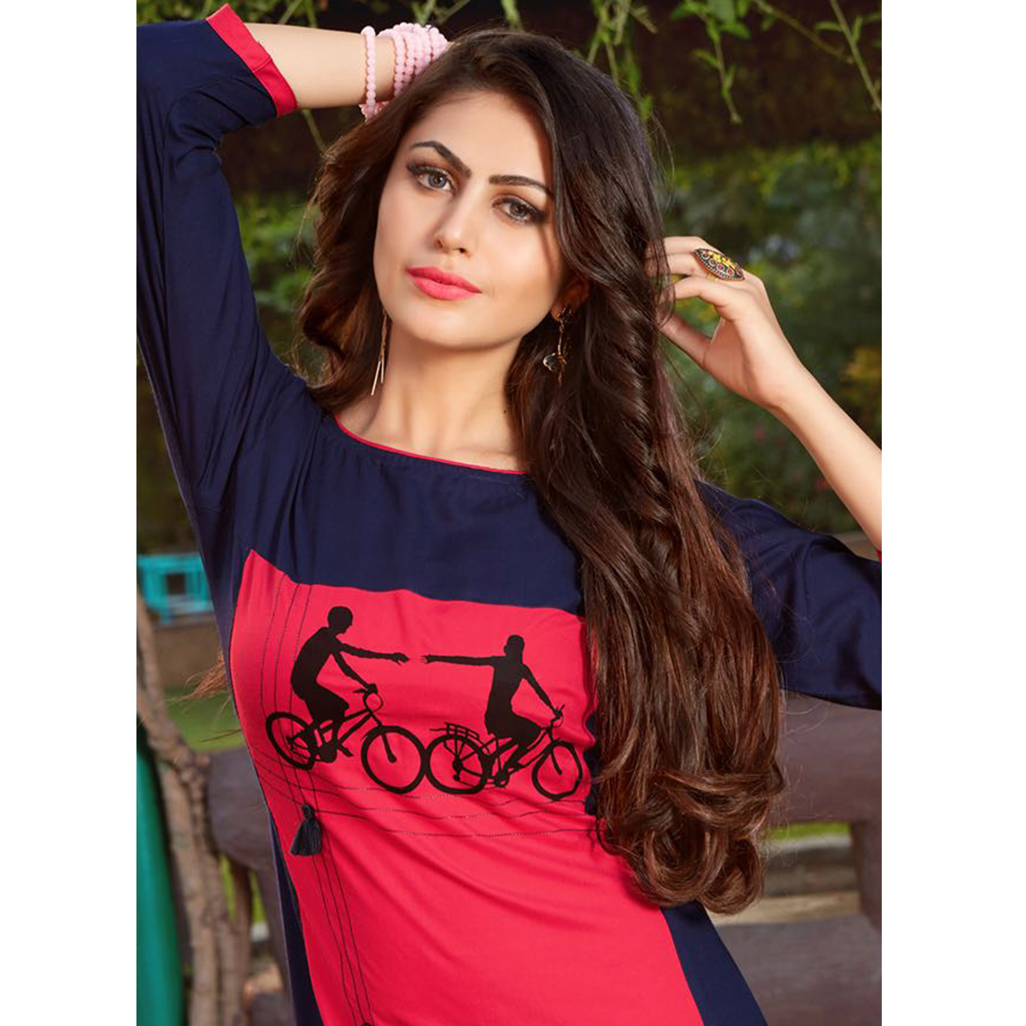 Classy Pink-Navy Blue Colored Casual Printed Heavy Rayon Kurti