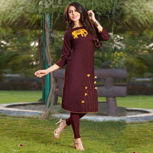 Stylish Brown Colored Casual Printed Heavy Rayon Kurti