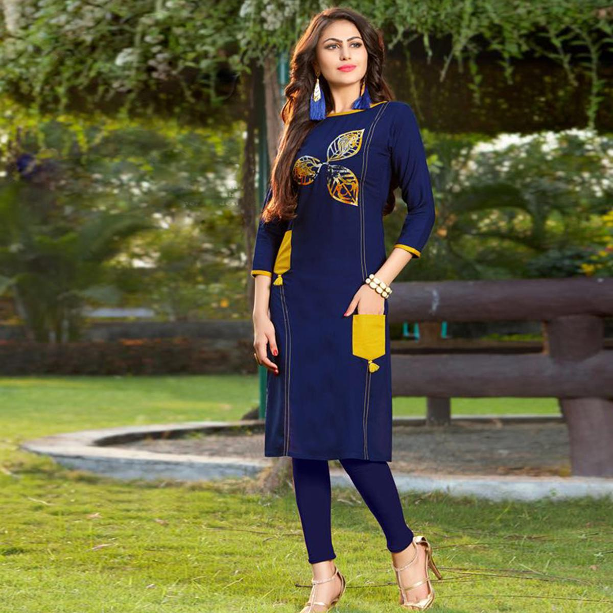 Stunning Navy Blue Colored Casual Printed Heavy Rayon Kurti