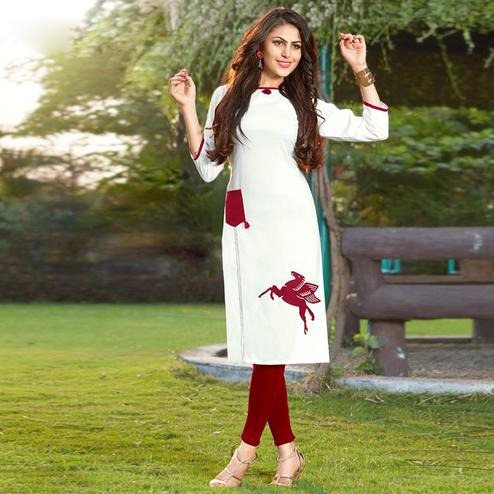 Lovely White Colored Casual Printed Heavy Rayon Kurti