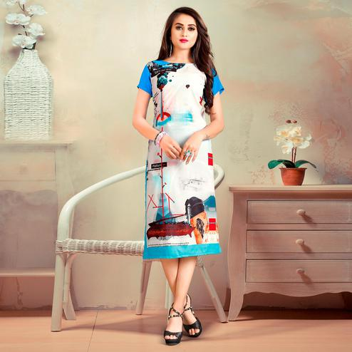 Beautiful White-Blue Colored Casual Digital Rayon Kurti