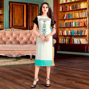 Appealing White Colored Casual Digital Rayon Kurti
