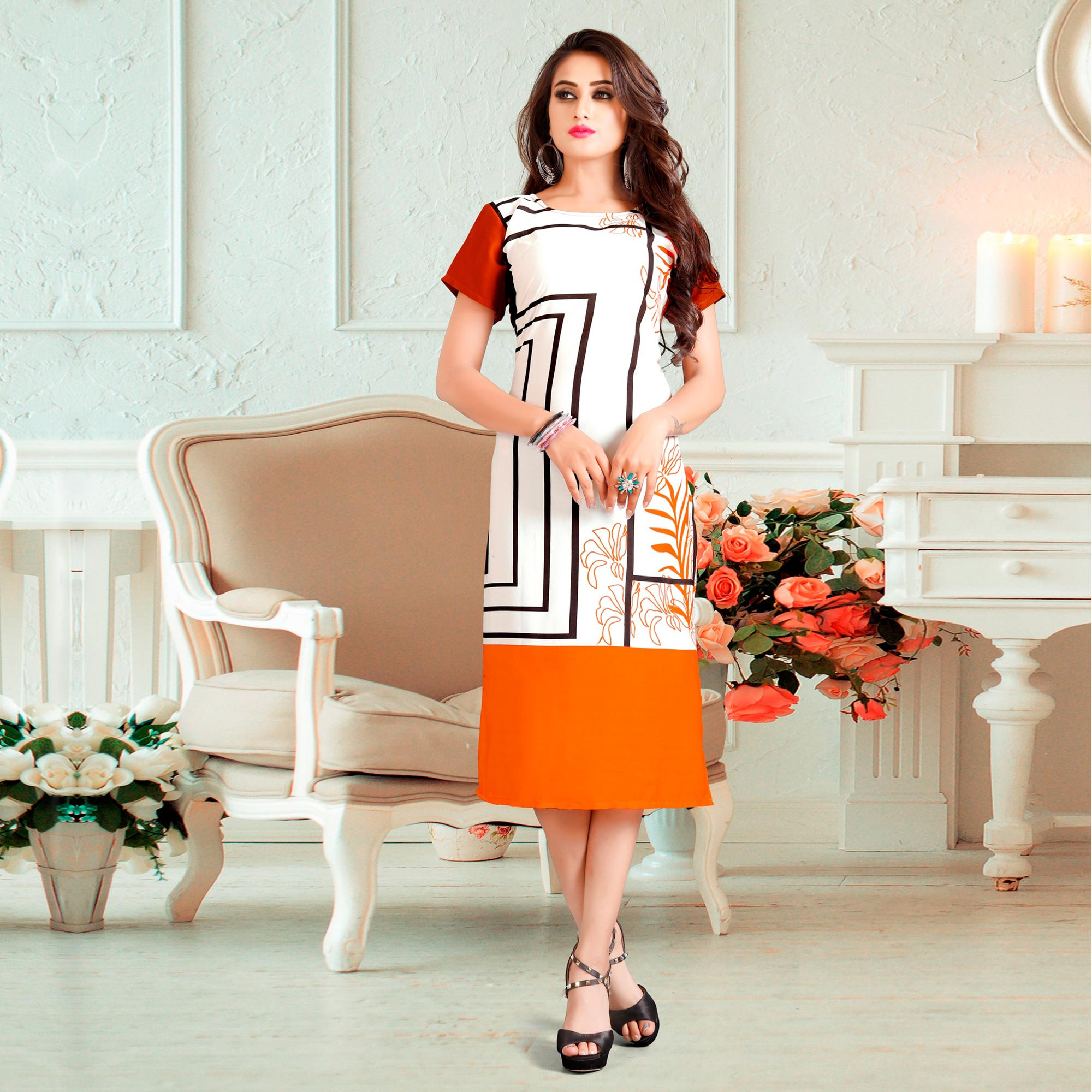 Impressive White-Yellow Colored Casual Digital Rayon Kurti