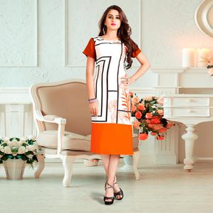 Impressive White-Orange Colored Casual Digital Rayon Kurti