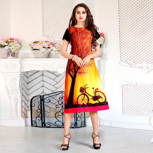 Glowing Orange Colored Casual Digital Rayon Kurti