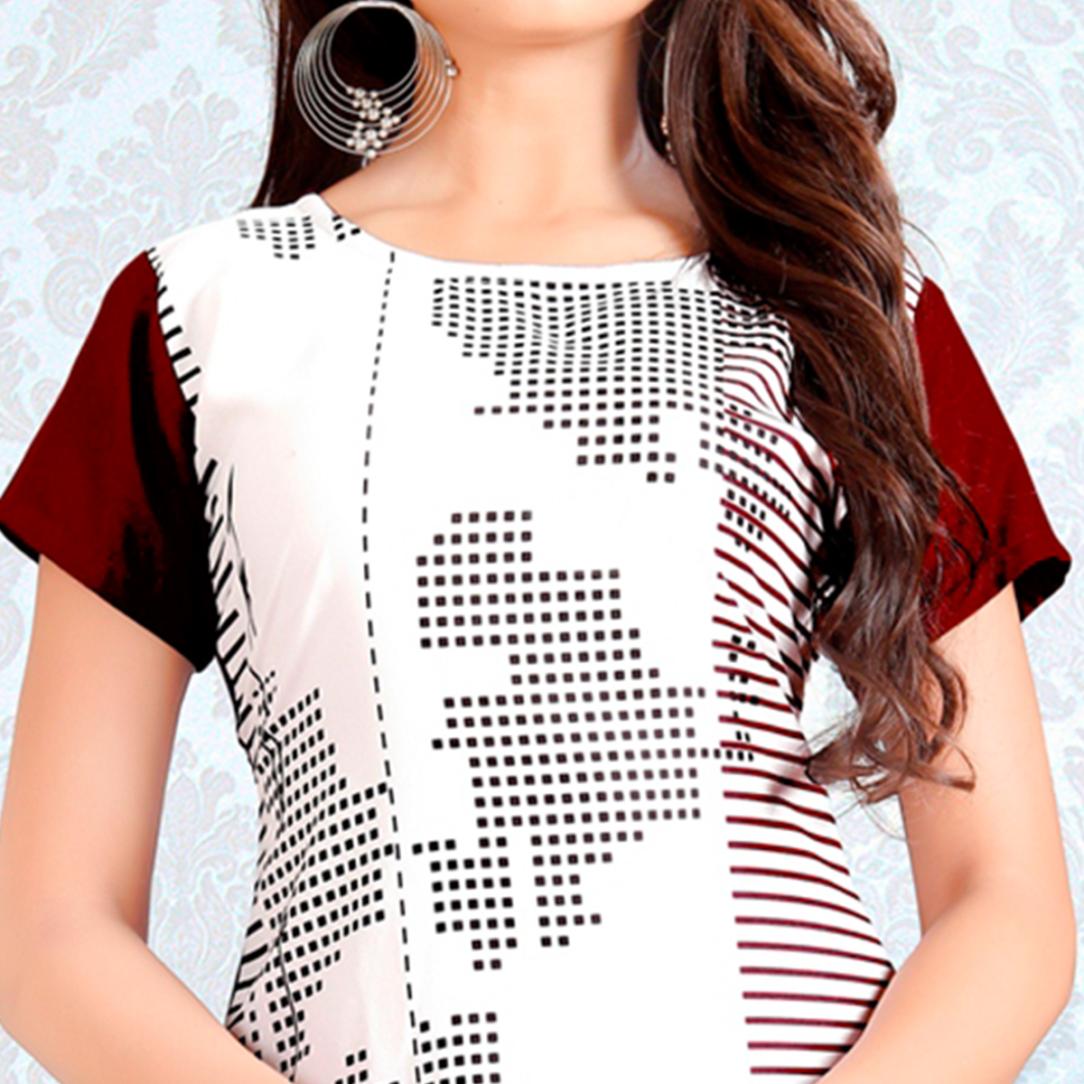 Lovely White Colored Casual Digital Rayon Kurti