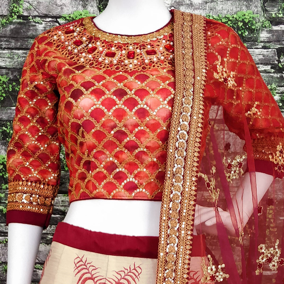 Amazing Red Colored Partywear Embroidered Art Silk Lehenga Choli