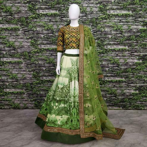 Stunning Green Colored Partywear Embroidered Art Silk Lehenga Choli