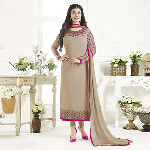 Attractive Tan Designer Embroidered Georgette Salwar Suit