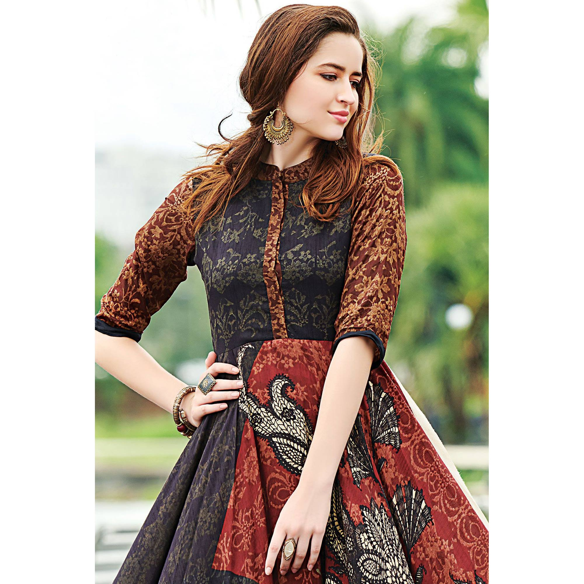 Adorable Multicolor Colored Partywear Digital Printed Cotton Gown