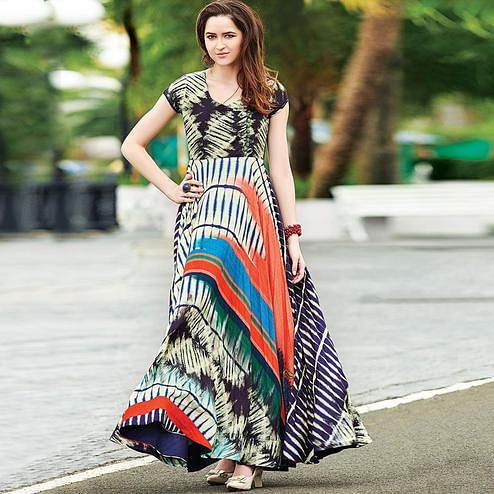 Attractive Multicolor Colored Partywear Digital Printed Cotton Gown