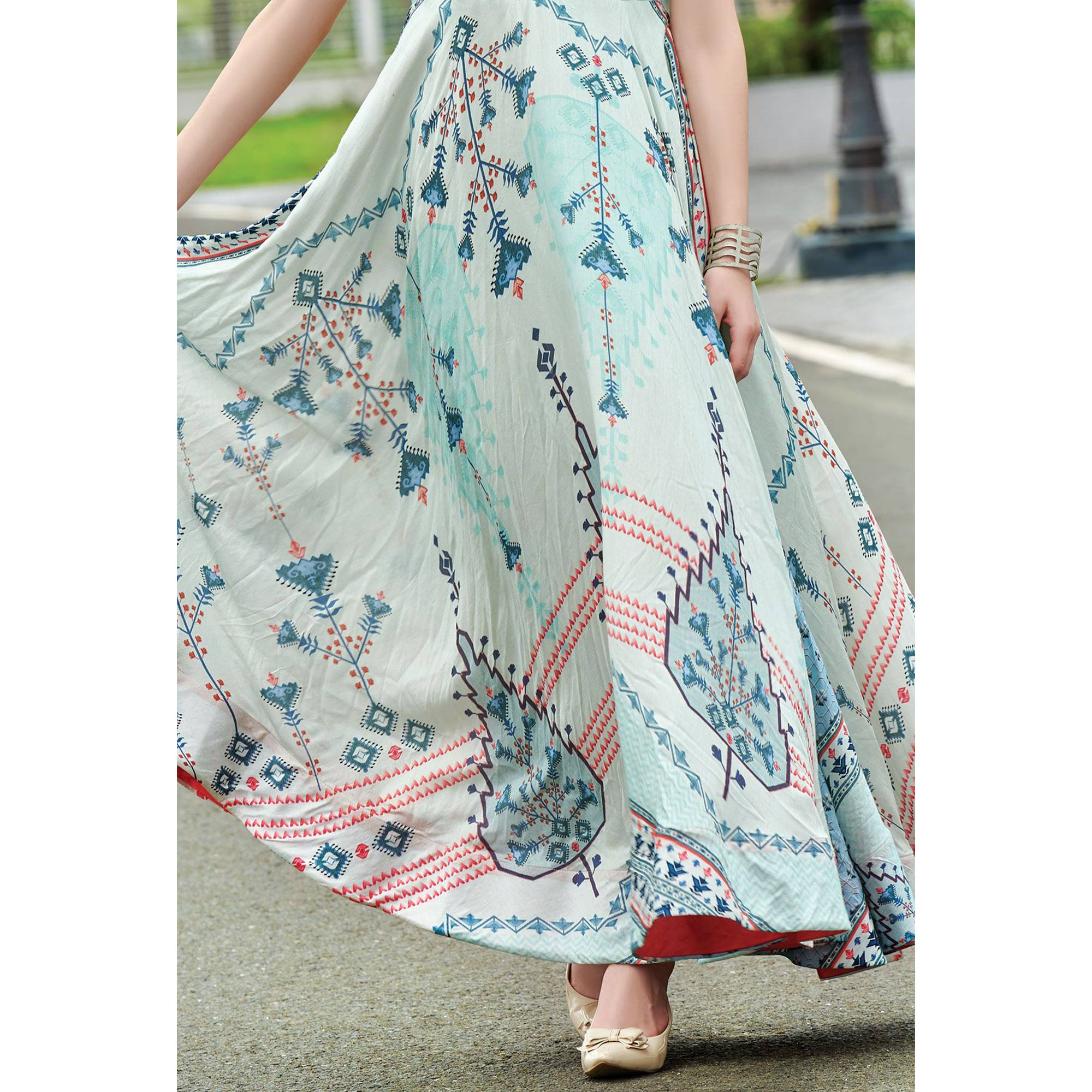 Glorious Light Cyan Colored Partywear Digital Printed Cotton Gown