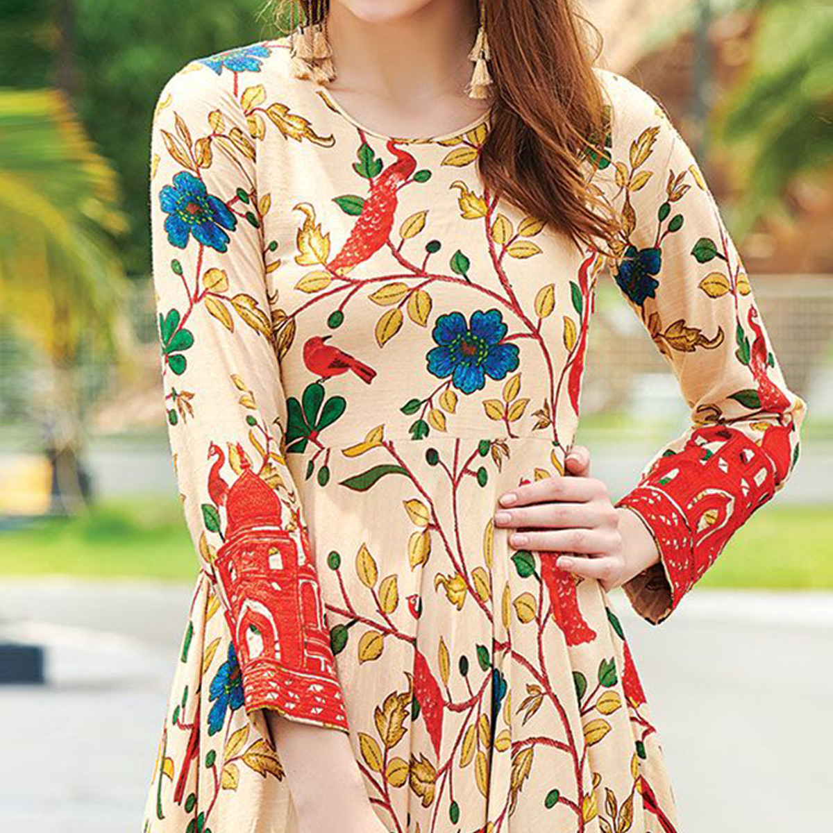 Charming Peach Puff Colored Partywear Digital Printed Cotton Gown