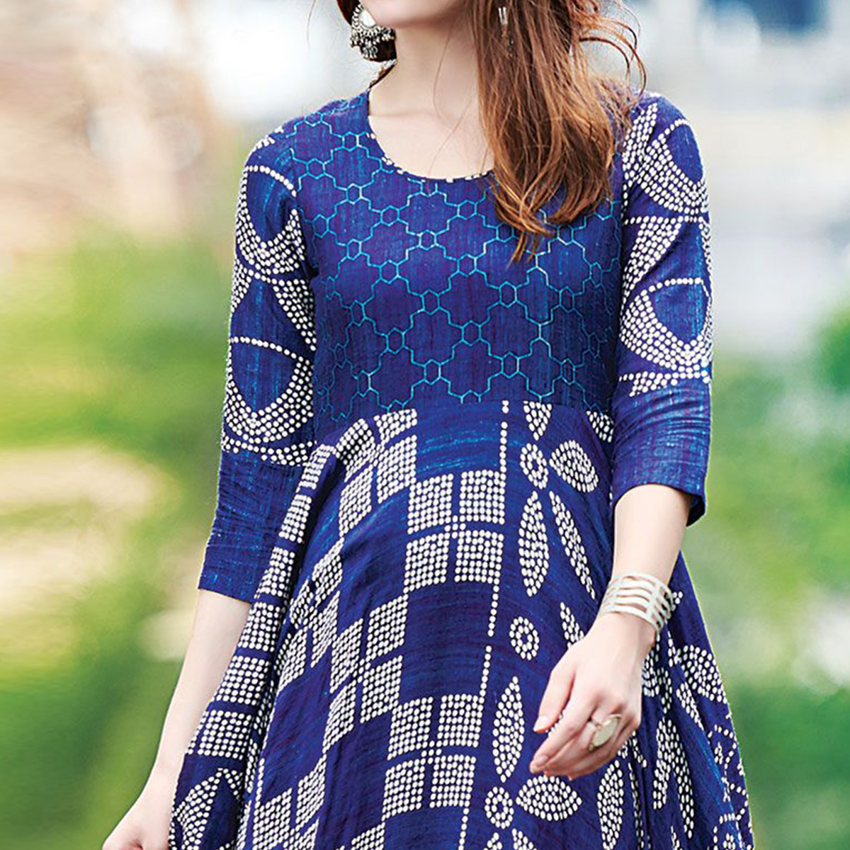 Ravishing Blue Colored Partywear Digital Printed Cotton Gown