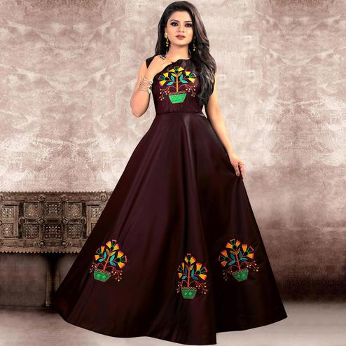 Innovative Dark Maroon Colored Party Wear Embroidered Twill Tapeta Silk Gown