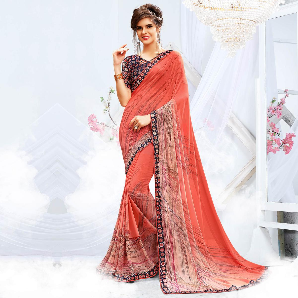 Lovely Pink Georgette Printed Saree