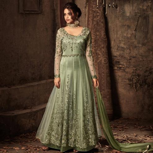 Intricate Green Colored Embroidered Heavy Net Abaya Style Anarkali Suit