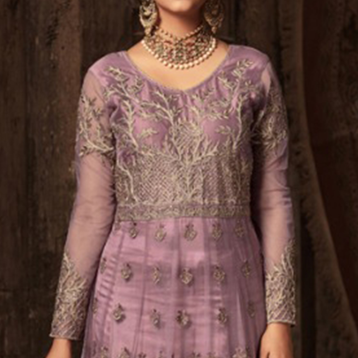 Desirable Lavender Colored Embroidered Heavy Net Abaya Style Anarkali Suit