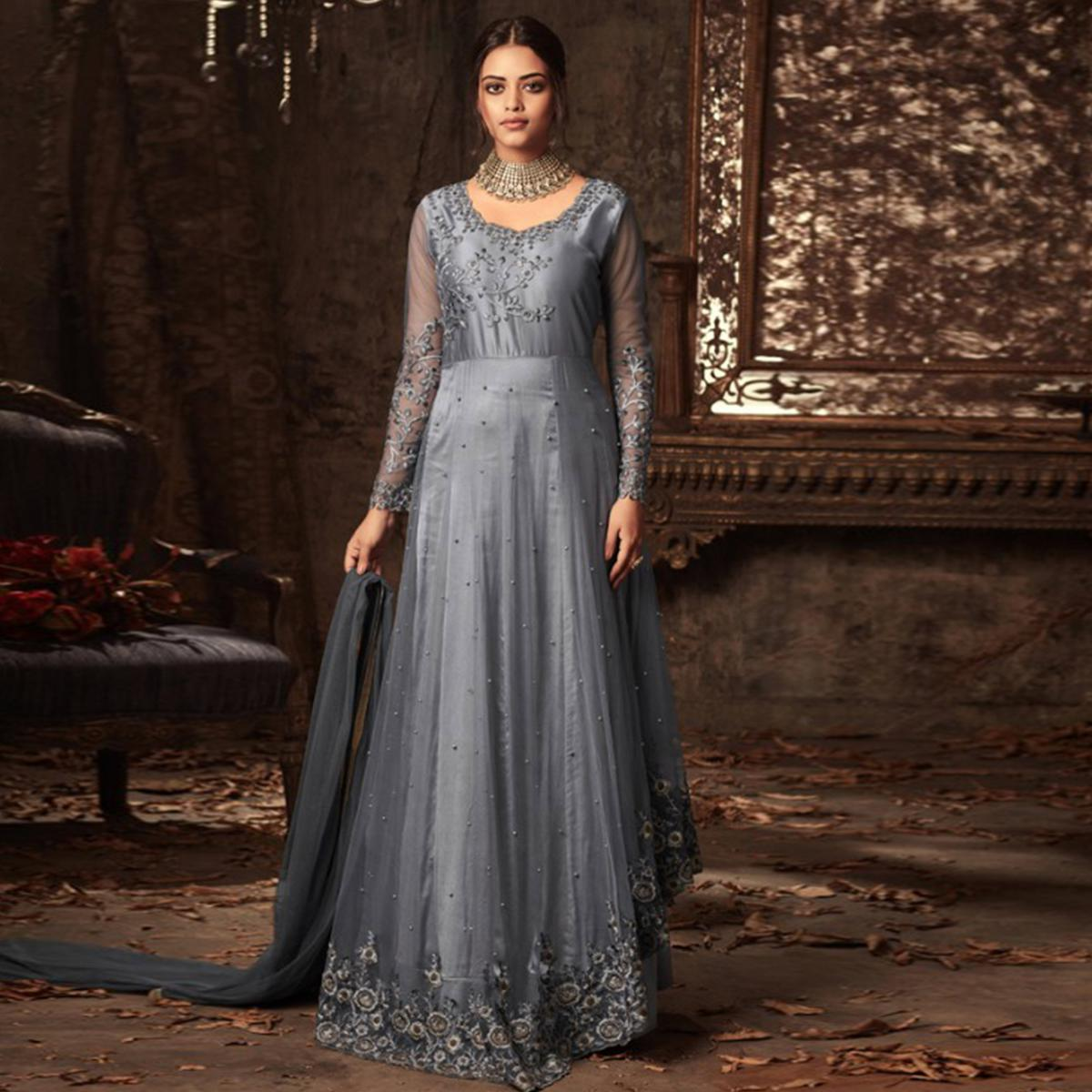 36c869ff4a Sophisticated Grey Colored Embroidered Heavy Net Abaya Style Anarkali Suit