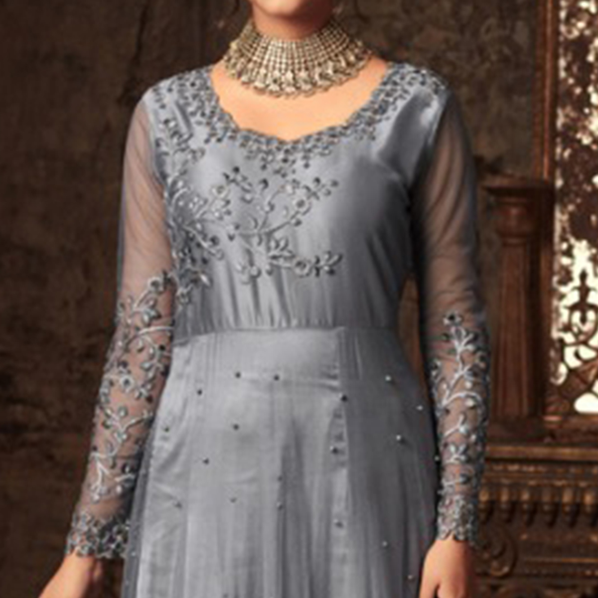 Sophisticated Grey Colored Embroidered Heavy Net Abaya Style Anarkali Suit